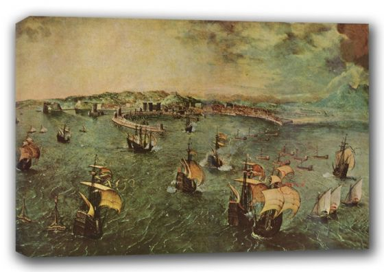 Bruegel the Elder, Pieter: Naval Battle in the Gulf of Naples. Fine Art Canvas. Sizes: A3/A2/A1 (00871)